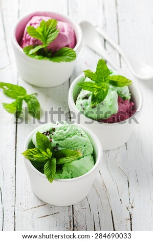 Mint ice-cream with chocolate, selective focus