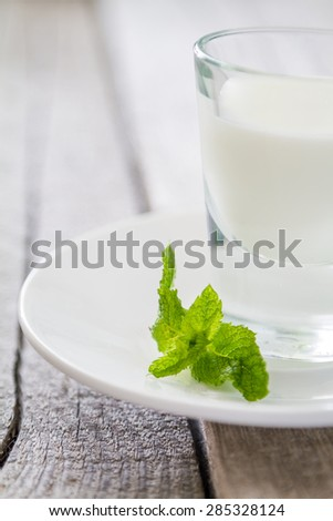 Mint leafs, white plate, dessert, rustic wood background