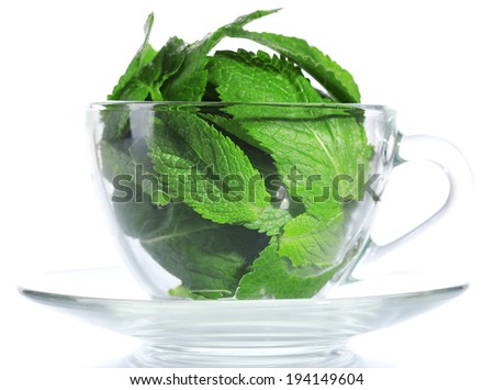 Mint leaves in glass cup isolated on white - stock photo