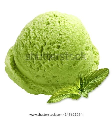 Mint or green tea ice cream on white background - stock photo