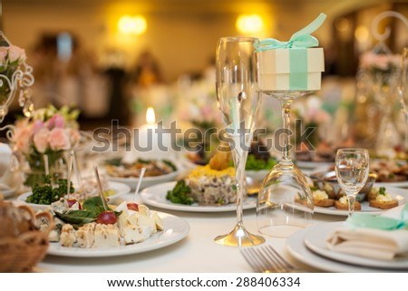 Decorated Tables buffet table canape sandwiches snacks holiday stock photo