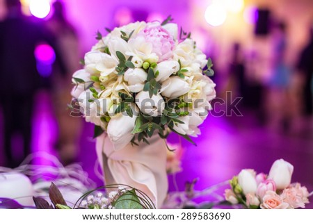 mint stylish luxury decorated tables for the celebration for a wedding of happy couple, cathering in the restaurant,  bouquet - stock photo
