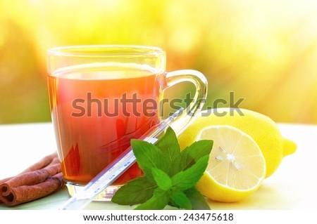 Mint tea and lemon - stock photo