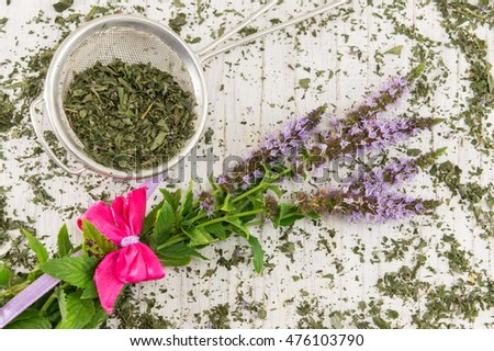 Mint tea herbs with flowers on a wooden table