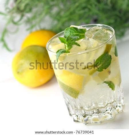 mint tea in a cup - stock photo