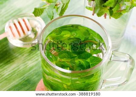 mint tea on the table - stock photo