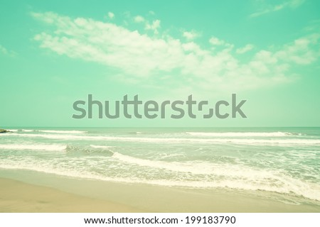 Mint turquoise retro beach  - stock photo