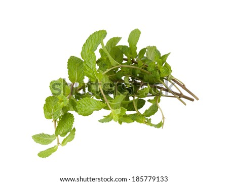 Mint vegetables on white background