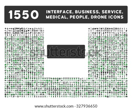 Minus icon and other web interface, business, tools, people, medical service and awards glyph symbols. Style is bicolor flat symbols, green and gray colors, rounded angles, white background.