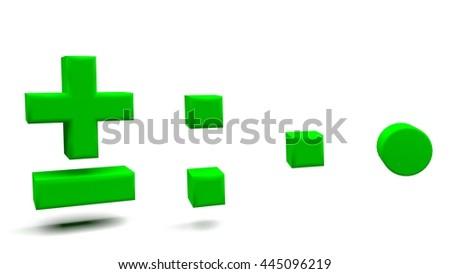 Minus Plus Colon Full Stop 3 D Stock Illustration 445096219