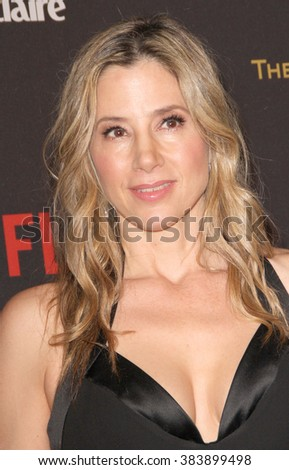 Mira Sorvino arrives at the Weinstein Company and Netflix 2016 Golden Globes After Party on Sunday, January 10, 2016 at the Beverly Hilton Hotel in Beverly Hills, CA.  - stock photo