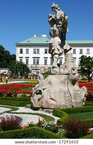 Mirabell Palace and its beautiful garden in Salzburg, Austria