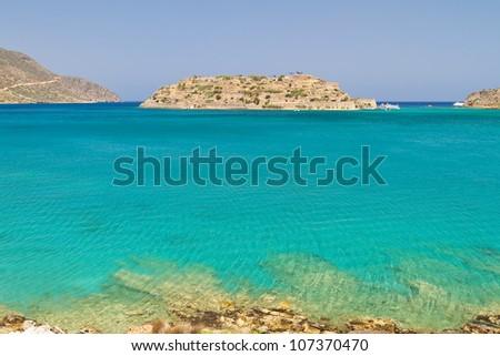 Mirabello Bay view with Spinalonga island on Crete, Greece - stock photo