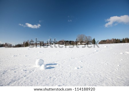 Miracle by nature - snow balls naturally made by snow and wind, Latvia, Baltic states, Europe - stock photo
