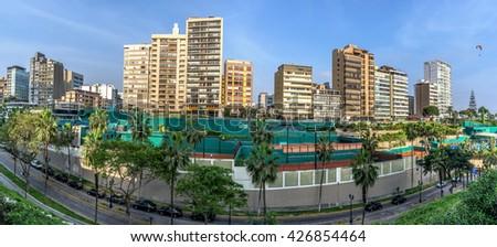 MIRAFLORES PANORAMIC VIEW, LIMA, PERU. - stock photo