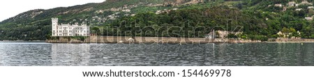 Miramare Castle from the sea, Trieste. Italy - stock photo