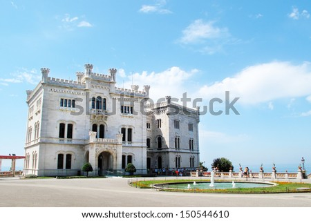 Miramare Castle in Trieste, Italy, EU. The castle's grounds include an extensive cliff and seashore park of 22 hectares. - stock photo