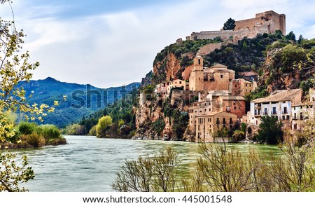 Miravet village and Ebro river. Province of Tarragona. Spain. Miravet is one of the most charming village in Catalonia