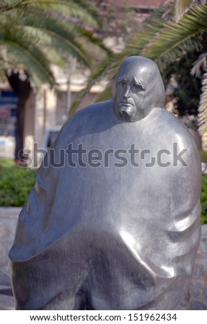 Miroslav Krleza monument in Opatija Croatia. He was a leading Croatian writer and a prominent figure in cultural life of both Yugoslav states. - stock photo