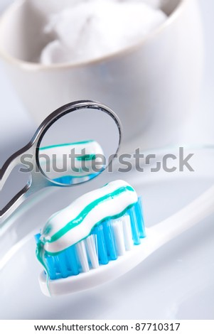 mirror and  dental care - stock photo