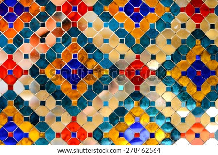 Mirror Asian Pattern Backgrounds in Thailand at Wat Phra Kaew Temple, Thai Art - stock photo