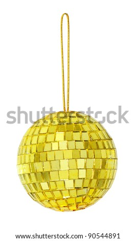 mirror ball in gold - stock photo