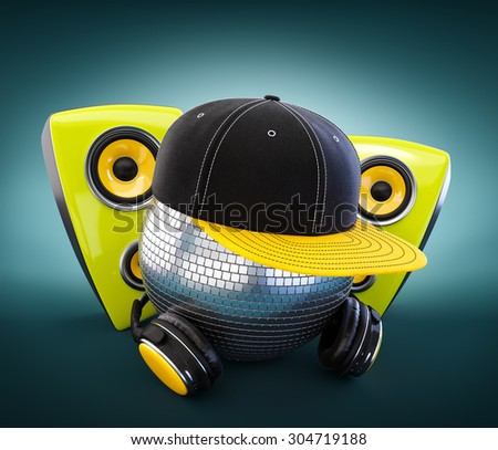Mirror ball with cap and headphones. DJ.  - stock photo