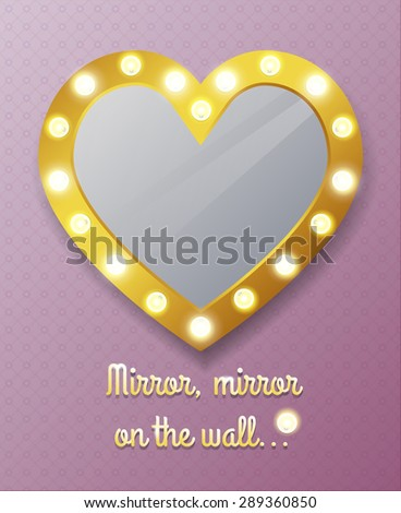 Mirror in shape of heart on wall. Reflection and frame - stock photo