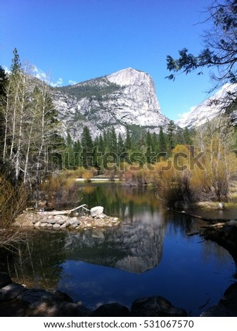 Mirror Lake, Half Dome in Yosemite National Park, USA