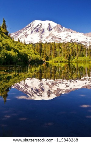 Mirror like reflection in bench lake - stock photo