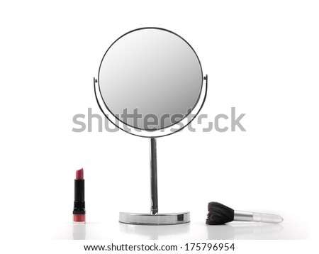 Mirror, Lipstick and brush over white background, for fashion and beauty themes - stock photo