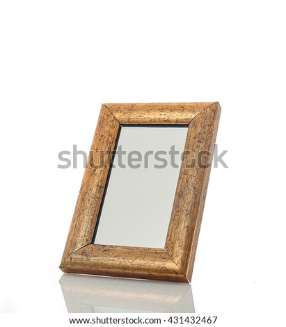 Mirror with golden wood frame