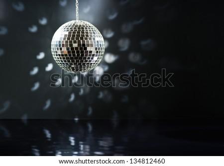 Mirrorball over the dance floor - stock photo