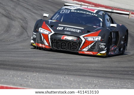 Misano Adriatico, Italy - April 10, 2016: Audi R8 LMS of Belgian Audi Club Team WRT, driven by Enzo Ide and Christopher Mies,  the Blancpain GT Series Sprint Cup in Misano World Circuit.