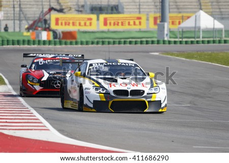 Misano Adriatico, Italy - April 10, 2016: BMW F13 M6 GT3 of Rowe Racing Team, driven by Philipp Eng and Alexander Sims,  the Blancpain GT Series Sprint Cup in Misano World Circuit.