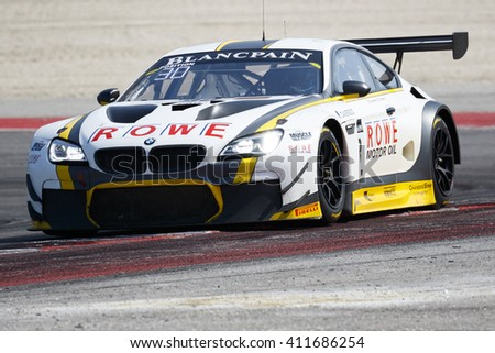 Misano Adriatico, Italy - April 10, 2016: BMW F13 M6 GT3 of Rowe Racing Team, driven by Stef Dusseldorp  and Nick Catsburg,  the Blancpain GT Series Sprint Cup in Misano World Circuit.