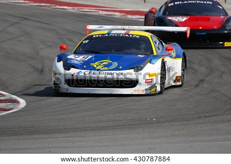 Misano Adriatico, Italy - April 10, 2016: Ferrari 458 Italia GT3 of AF Corse Team, driven by Mario Cordoni,  the Blancpain GT Sports Club Main Race in Misano World Circuit.