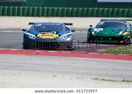 Misano Adriatico, Italy - April 10, 2016: Lamborghini Huracan GT3 of Attempto Racing Team, driven by Daniel Zampieri and  Patric Niederhauser,  the Blancpain GT Series Sprint Cup in Misano Circuit.