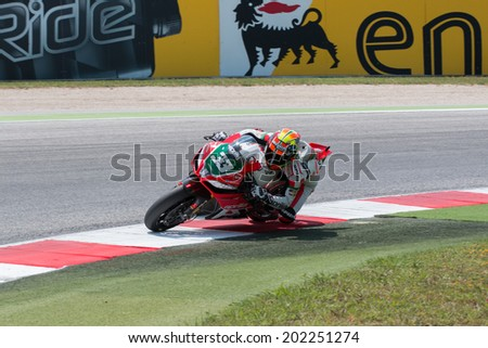 MISANO ADRIATICO, ITALY - JUNE 21: Aprilia RSV4 Factory of APRILIA RACING TEAM , driven by Marco Melandri in action during the Superbike Free Practice 4th Session during the FIM Superbike World