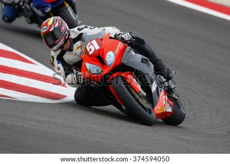 Misano Adriatico, Italy - June 20, 2015: BMW S1000 RR of Motos Vionnet Team, driven by VIONNET Eric in action during the Superstock 1000 Qualifying during the FIM Superstock 1000