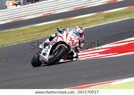 Misano Adriatico, Italy - June 21: Honda CBR 650F of Drayton Racing Team, driven by DRAYTON Dan in action during the European Junior Cup Race at Misano World Circuit on June 21, 2015 in Italy.