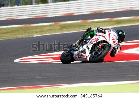 Misano Adriatico, Italy - June 21: Honda CBR 650F of Mini Sikk Racing Team, driven by VAN SIKKELERUS Jaimie in action during the European Junior Cup Race on June 21, 2015 in Misano Adriatico, Italy.