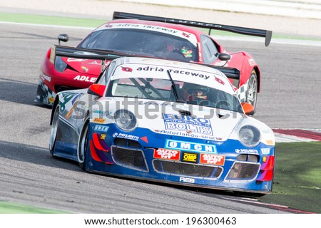 MISANO ADRIATICO, Rimini, ITALY - May 10:  A PORSCHE 997 GT3 of AUTORLANDO team, driven By BABINI Fabio (ITA) and BIANCO Riccardo (ITA),  the C.I. Gran Turismo car racing on May 10, 2014