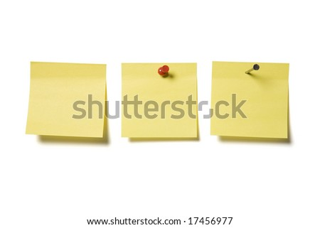 Miscellaneous blank paper notes isolated on a white background - stock photo