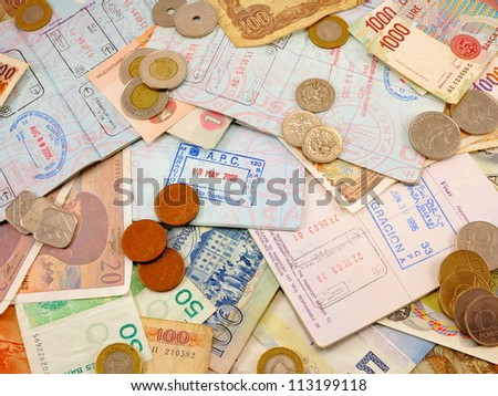 Miscellaneous passports, passport stamps, foreign currency, foreign change, - stock photo