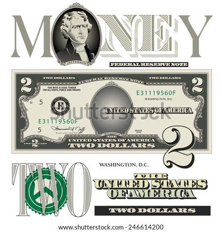 Miscellaneous two dollar bill elements - stock photo