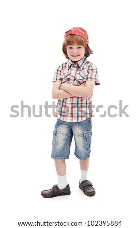 Mischievous kid with freckles - isolated - stock photo