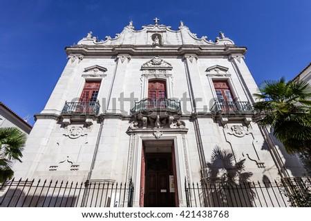 Misericordia church. 16th century Hall-Church in late Renaissance Architecture with a baroque facade. Santarem, Portugal. - stock photo