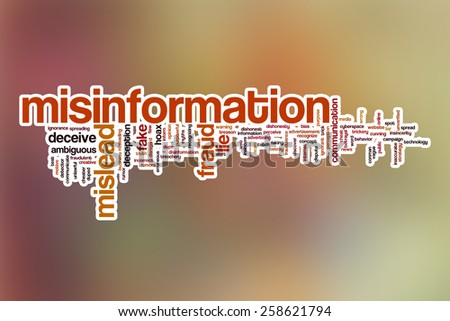 Misinformation word cloud concept with abstract background - stock photo