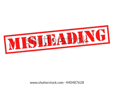MISLEADING red Rubber Stamp over a white background. - stock photo